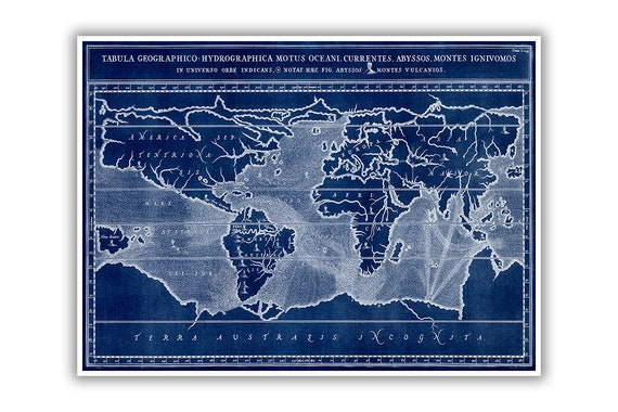 Ancient World Map Depicting Volcanoes Locations Subterranean Etsy