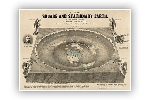 Flat Earth World Map Square And Stationary Earth Digitally Etsy