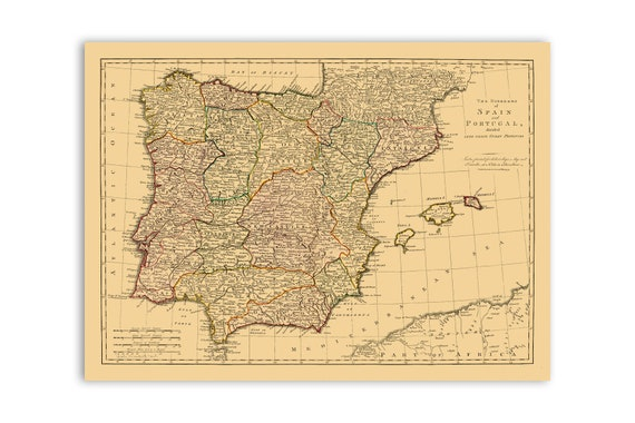 Spain And Portugal Map, Iberian Peninsula Poster, 1700 Old Spanish Antique  Vintage Art, Portuguese Print, 3 Color Style Options,