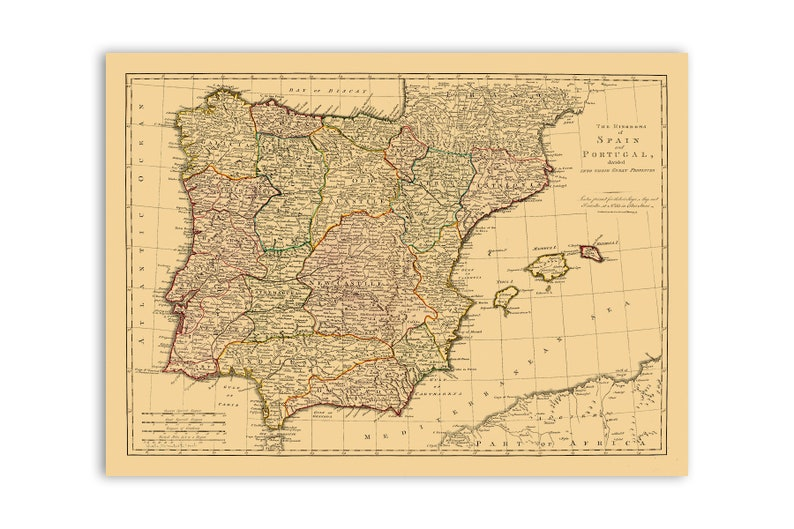 Map Of Spain 1700.Spain And Portugal Map Iberian Peninsula Poster 1700 Old Spanish Antique Vintage Art Portuguese Print 3 Color Style Options