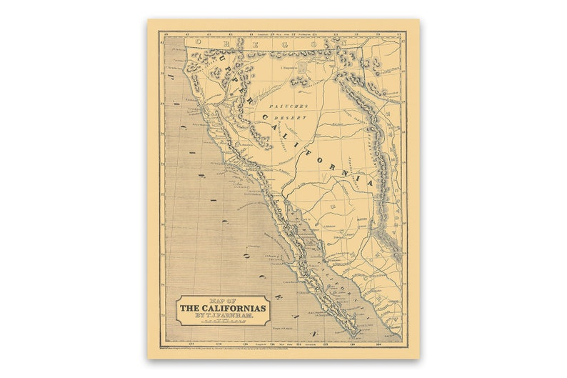 04bad3557fa96 Old California Railroad Map Poster 1842 Vintage Style Print, Depicts  Railways and Towns