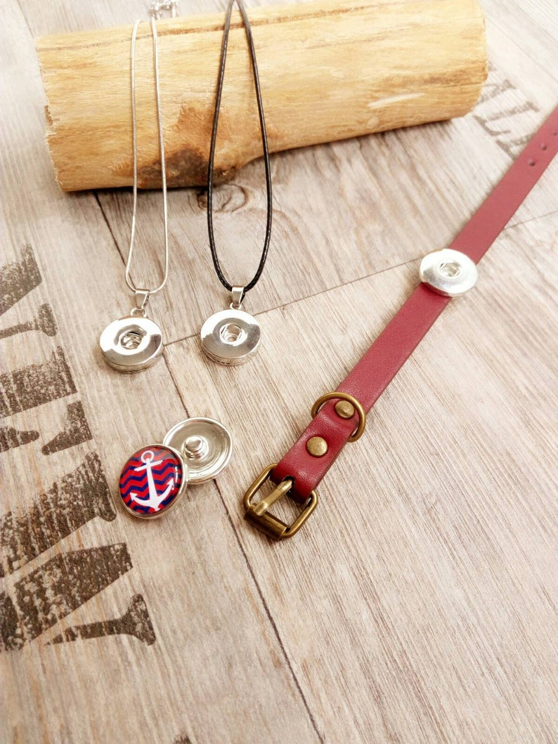 5 push buttons with bracelet or necklace cabochon jewelry set