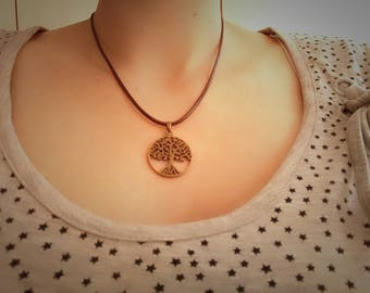Necklace Leather Life Tree Brown