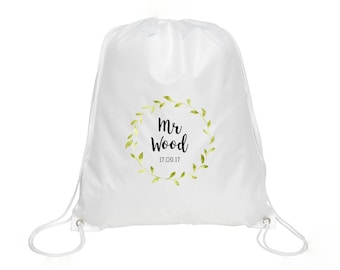Personalised Mr Name & Date Drawstring Bag