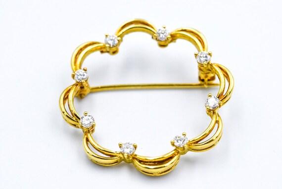 1960's Diamond 14KY Gold Brooch Pin Pendant