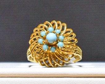 22k Turquoise Flower Ring