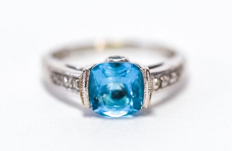 14k Blue Topaz Diamond Ring