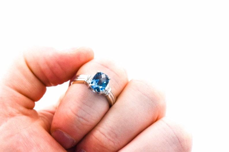 14KW Blue Topaz Diamond Ring