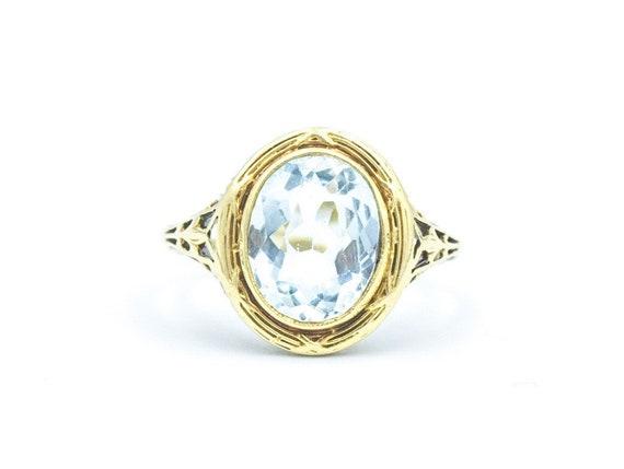 Vintage Aquamarine 14k Filigree Ring