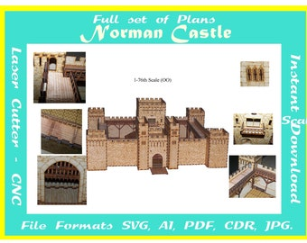 Laser cutting plans for a 1/76 scale Norman Castle, Instant download  in  svg cdr ai pdf jpg plus pics for assembly