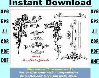 Rose Border Elements  SVG Vector Stencil Instant download 7 file formats Drawing/cutting files #2