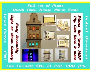 Laser cutting plans for a 28mm scale town house, Instant download in  svg cdr ai pdf jpg plus pics for assembly