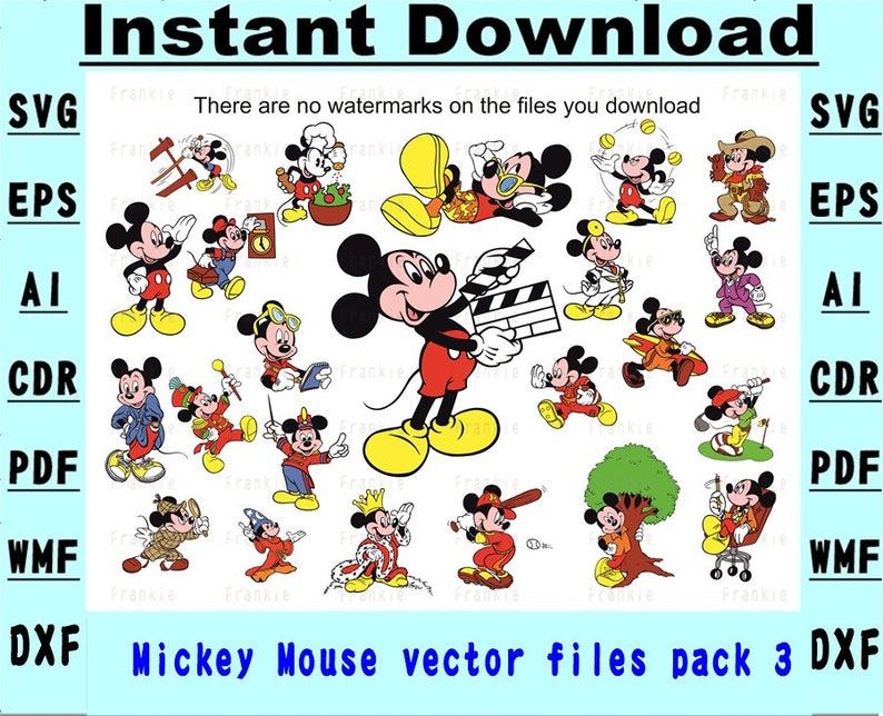 Micky Mouse Vector Pack 03 SVG Stencil Instant download 6 file formats  Drawing/cutting files