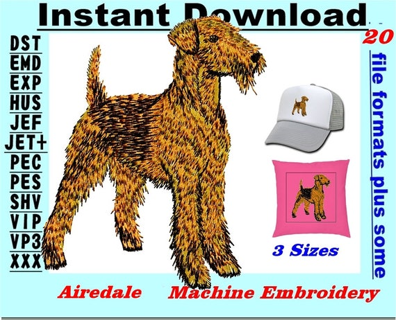 Custom Embroidered Sweatshirt Shirt Airedale natural