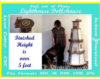 LIGHTHOUSE - DOLLS HOUSE - Night light  Instant download Laser cutting plans files in  svg cdr ai pdf jpg plus pics for assembly
