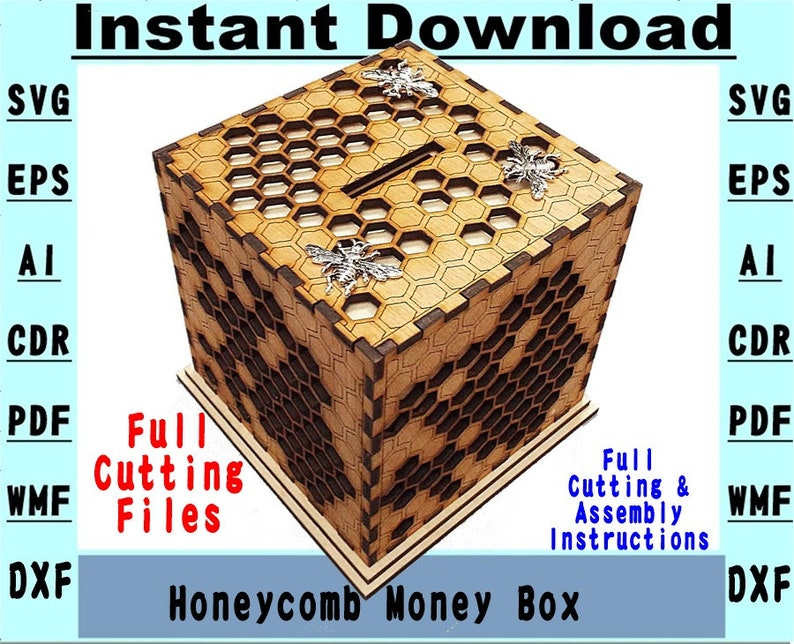 Download Vector files to Laser cut a Honeycomb Money Box SVG ...