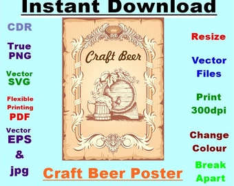 Craft Beer Poster  SVG Vector Stencil Instant download 6 file formats Drawing/cutting files #1