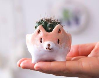 Akita succulent pot, cactus pot, ceramic succulent planter, gift for her, cute things, dog cactus pot, mother's day gift ideas