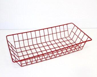 Red metal baskets, metal baskets, vintage basket, metal basket, industrial deco, vintage decoration,
