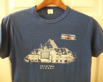 2b8b181c8 Vintage 80s Quebec T Shirt S Gare du Palais Ringe tee City Canada Train  Station Bus Depot New France Souvenir Railway Blue 50/50 vtg 1986