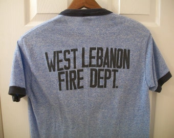 da14e592d Vintage 70s Tri Blend T Shirt M West Lebanon Fire Dept. Department Indiana  Triblend Downerwear 50/38/12 Rayon Ringer tee Brigade Firefighter