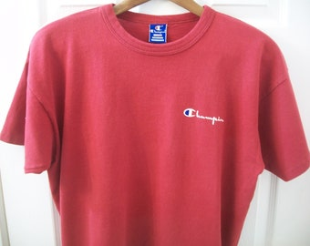 421b4e25 Vintage 90s Champion T Shirt Large L Spell Out Logo Graphic Red Made in the  USA 100% Cotton Products Brand Streetwear Athletic Sports vtg