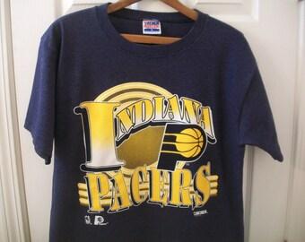 972ca6f4ff1 Vintage 90s Indiana Pacers T Shirt Large NBA Basketball Reggie Miller Boom  Baby Market Square Arena Slick Leonard Millertime Trench Blue vtg