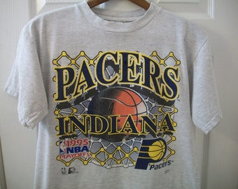dc046520d6d Vintage 90s Indiana Pacers T Shirt M NBA Basketball 1995 Playoffs Reggie  Miller Boom Baby Market Square Arena Logo 7 100% Cotton Trashed vtg