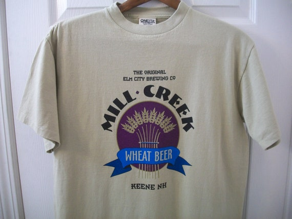 Vintage 90s Brewery T Shirt Medium Mill Creek Wheat Beer Elm City Brewing  Co Keene NH New Hampshire Resturant Souvenir tee Oneita Cotton vtg