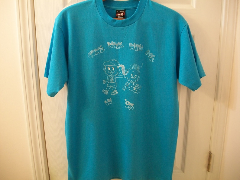 Vintage 90s Walk A Thon T tee Shirt Large Come Walk With Me In  93 Charity  4... Vintage 90s Walk A Thon T tee Shirt Large Come Walk With Me In  93  Charity ... bde131161