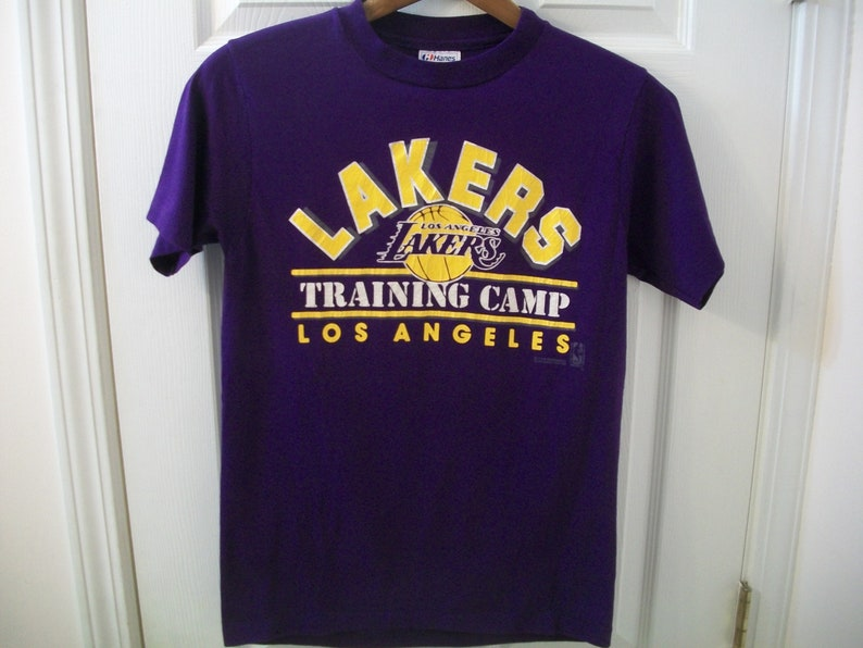 63c564c6d77 Vintage 80s Los Angeles Lakers T Shirt Small S Training Camp