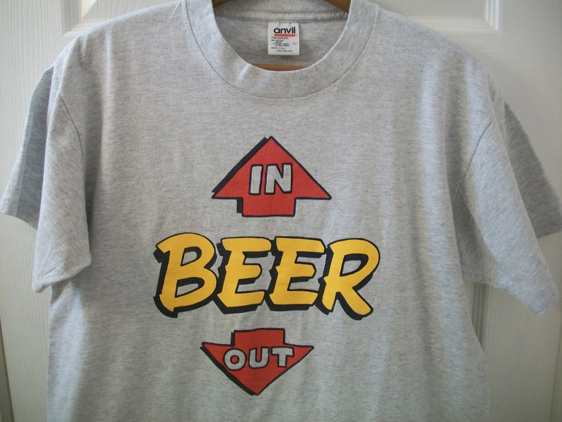 Vintage 90s Beer T tee Shirt Large Humor Comedy In Out Bar Tavern Coors Beer Pong Frat Party In Out Budweiser Busch Miller Father's Day vtg