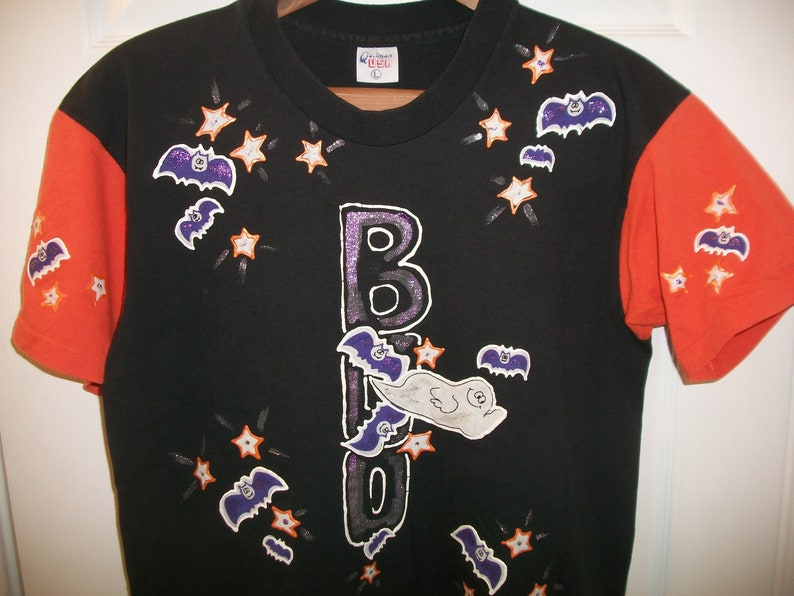 9e80e400d Vintage Halloween T tee Shirt Medium BOO Ghost Bat Glitter | Etsy