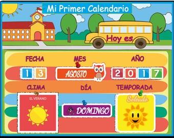 Spanish Montessori Kids Calendar, Waldorf Preschool Calendar for Kids,  Spanish Days of the Week, Instant Download, Personalized