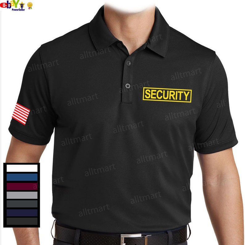 e9b62b8f Mens Dry Fit Security Polo T-Shirt Graphic Printed   Etsy