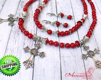 Coral necklace set Red Coral Multi strand necklace Natural coral earrings Ethnic necklace Coral jewelry Ukrainian ethnic Red  coral necklace