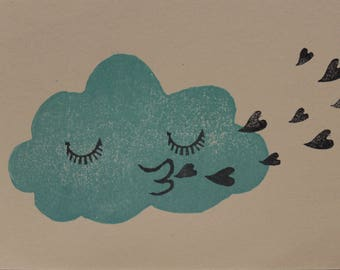 Wolki in love-hand printed card