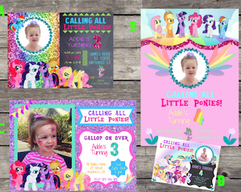My Little Pony Invitation With Photo Etsy