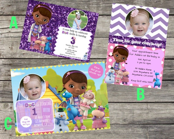 Personalized Doc McStuffins Birthday Invitation Digital File You Print DIY 5x7