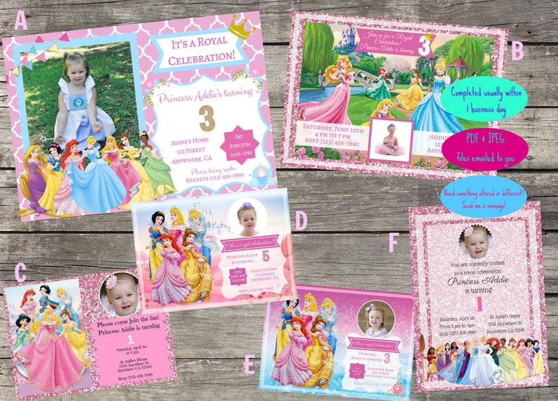 Personalized Disney Princess Birthday Invitation Digital File