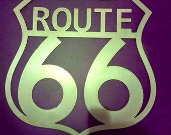 Metal sign ,Route 66 , cnc plasma cut metal sign , garage art , home made in the uk