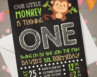 Monkey invitations etsy monkey birthday invitation monkey invitations monkey invite monkey first birthday monkey 1st birthday monkey birthday party printables filmwisefo
