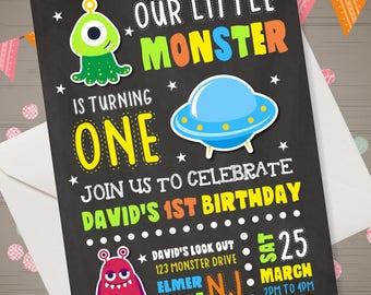 Alien Birthday Invitation Alien Invitations Space Birthday Invitation Monster Invitation Outer Space Invitation Alien Party Alien Spaceship