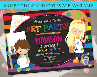 Art Party Birthday Invitation Art Party Invitation Rainbow Art Party Kids Art Party Art Birthday Party Chalkboard Art Party Kids Paint Party
