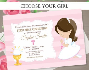 FIRST COMMUNION Invitation Girl First Holy Communion Invitation First Communion Girl Holy Communion Printable CHOOSE Your Girl Invitation