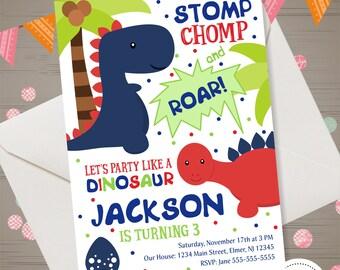 Dinosaur Birthday Invitation Boy Invite Party 1st 2nd 3rd 4th Digital