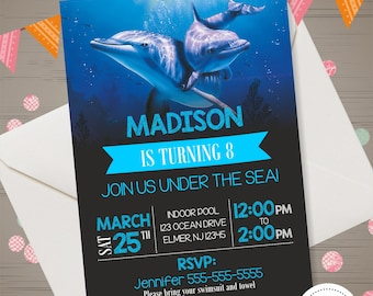 Dolphin Invitation Birthday Party Invite Supplies Printables Under The Sea