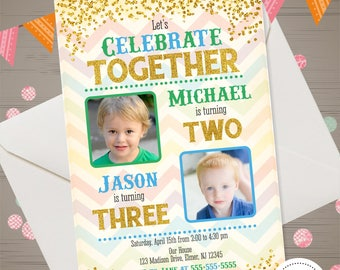 Boys Joint Birthday Invitation With Photo Siblings Party Invite Twins Dual Gold Glitter Brothers Double