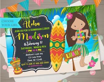 Luau Joint Birthday Invitation Luau Invitation Aloha Etsy