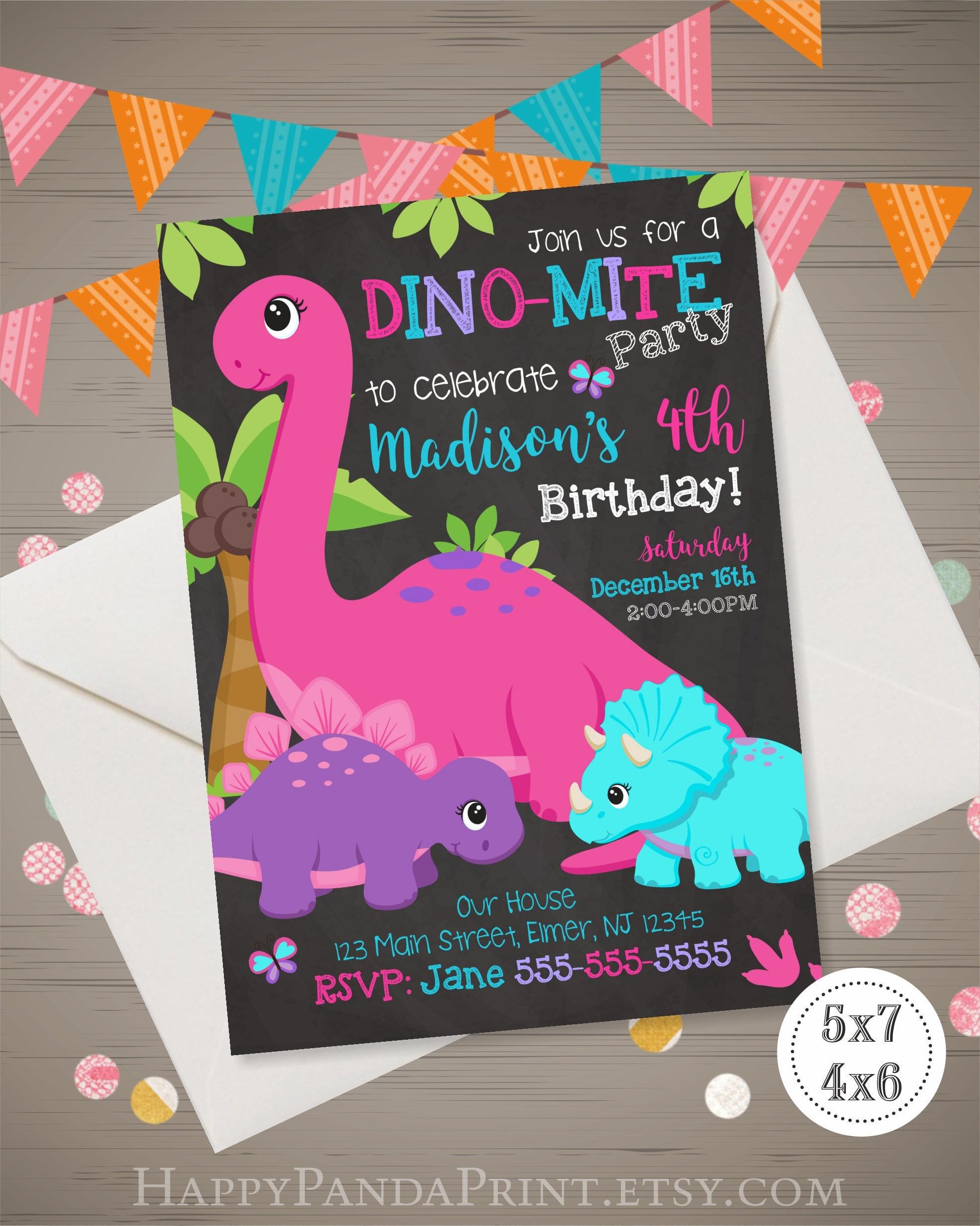 Girl Dinosaur Invitation Birthday